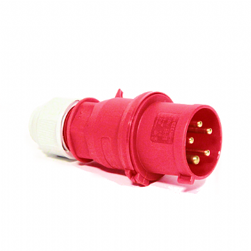 CEENorm 2148 32amp 5-Pin 3-Phase Plug, Red, IP44